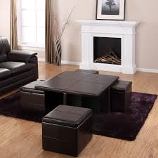 ... Living Room Present Wood Insert Fireplace And Square Coffee Table With  4 Black Leather Ottomans ...