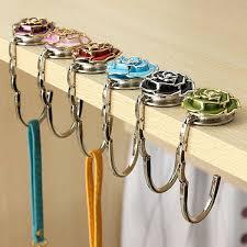 flower design folding handbag holder bag hanger purse table hook black cod