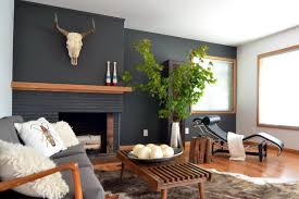 black brick fireplace wood mantel