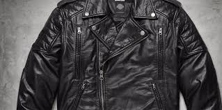 1 skull patch leather biker jacket