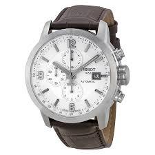 tissot prc 200 wristwatches tissot t sport prc 200 chronograph white dial brown leather mens watch