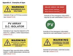 changes to n solar pv installation standard as5033 examples of required labeling under new as5033 standards