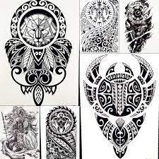 Adesivi Tatuaggio Temporaneo Guerriero Re Leone Uomo Robot Braccio Falso Impermeabile Tatuaggi Maori Body Art Nero Totem Tatoo Paper