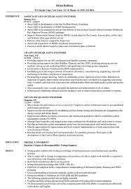 Advanced Resume Advanced Quality Engineer Resume Samples Velvet Jobs