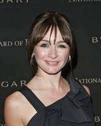 Emily Mortimer  - 2018 Dark brown hair & bangs hair style.