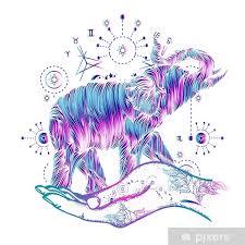 Nálepka Slon V Ruce Tetování Umění Slon Sakrální Styl Barevné Tričko Design Symbol Meditace Turistika Hipster Kouzlo Tetování Tetování Slonů