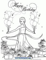 Snow Queen Elsa With Balloons And Gifts Coloring Page Disney