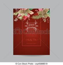 Poinsettia Card Vintage Poinsettia Christmas Card Winter Background In Vector