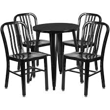 outdoor metal table set. Practical Flash Furniture Dining Sets Black Metal Round Top Indoor Outdoor Table Set With