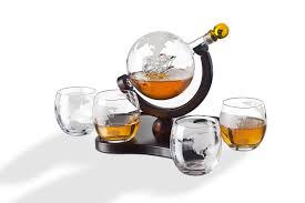 whiskey decanter globe set with 4 etched globe whiskey glasses 850ml