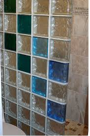 Colored glass block wall provides a stylish and durable alternative for a  Los Alamos New Mexico