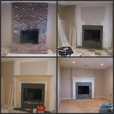 brick fireplace makeover before during after just drywall over the brick