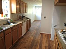 charming kitchen design with wooden floor by vinyl plank flooring matched with cabinets for home ideas