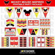 Mickey Mouse Party Printables Free Mickey Mouse Disney Inspired Birthday Party By Loveshower On Etsy