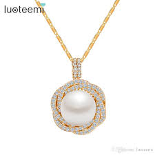 whole luoteemi new design high quality flower cz round big pearl pendant necklace champagne gold color jewelry for women jewelry silver pendants from