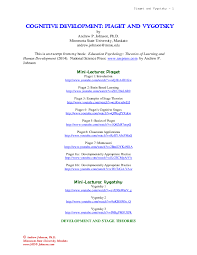 Piaget And Vygotsky Compare And Contrast Chart Pdf Cognitive Development Piaget And Vygotsky Andrew