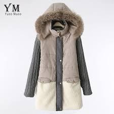 jacket yuoomuoo natural fur collar winter coat women warm parkas wool patchwork for women parkas winter