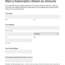 Sample Donation Form Recurring Subscription Donation Form With Variable Amount