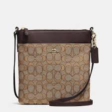 Image is loading COACH-Signature-North-South-Swingpack-52576-CrossBody-Bag-