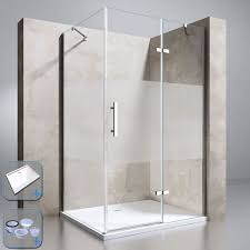 durovin shower enclosure and tray frosted hinged glass door and side panel 6mm