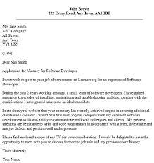 Software Developer Job Application Cover Letter Example
