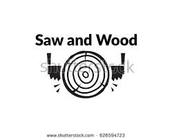 wood saw logo. scalable vector illustration, that consists of two-man saw and lumber (timber) wood logo