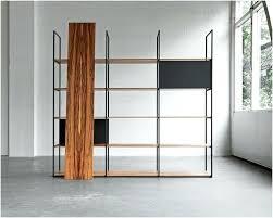low narrow bookshelf open back shelving unit black with doors on wheels designer bookshelves modern wooden mid century modern shelving