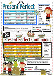 Chart Perfect Chart Present Perfect Simple Continuous English Esl Worksheets
