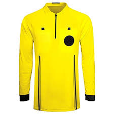 referee soccer jersey long sleeves yellow red green blue black yellow x large