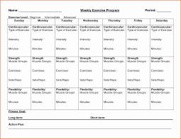 Fitness Plan Chart 029 Weekly Workout Schedule Template Calendar Excel