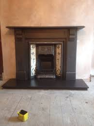 victorian slate fireplace surround fully red and complete with cast iron