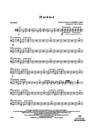 drum set sheet music 25 or 6 to 4 drums robert lamm digital sheet music gustaf