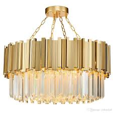round luxury modern crystal chandelier irregular gold stainless steel pendant lamp clear crystal hanging light fixture for living room kitchen island