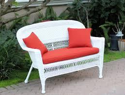 resin loveseat patio furniture jasmine white wicker red orange cushion modern