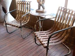 Vintage Steel Slat Bouncers Vintage Metal Porch Chairs With Retro