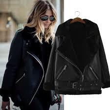 original new black faux leather shearling fur collar aviator biker jacket coat
