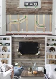 how to hide wall mount tv wires with pallet walls or shiplap walls