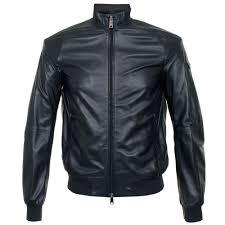 armani jeans sheepskin nero blue er jacket 3y6b50