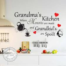 grandma s kitchen wall sticker memories are made quote with tea pot and cupcake wall decor decals with red hearts