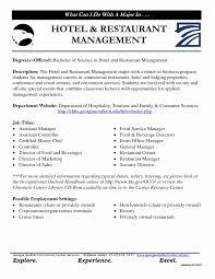 Sample Resume For Hotel And Restaurant Management Restaurant