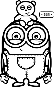 Printable Cute Bob And Bear Minions Coloring Page Free Coloring Book