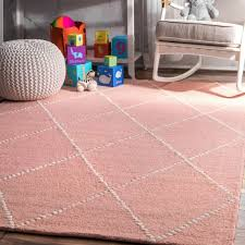 nuloom contemporary modern geometric trellis wool area rug in baby pink for