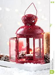 Weihnachtslaterne Mit Kerzen Schnee Weihnachtsdekorationen