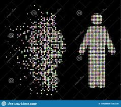 Broken Light Effect Light Broken Dotted Halftone Wc Persons Icon Stock Vector