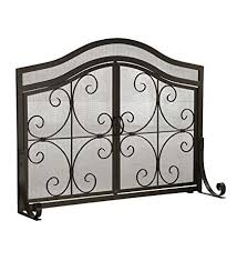 Amazoncom Small Crest Fireplace Screen With Doors Solid Wrought Small Fireplace Screens