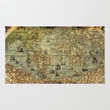 vintage old world map rug