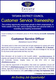 Tatiara District Council Traineeship Customer Service Officer