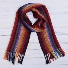 rainbow 100 alpaca striped scarf from peru andean rainbow