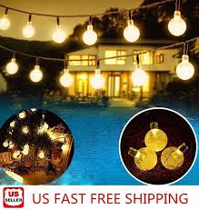 20ft <b>30 LED Solar</b> String Ball Lights Outdoor Waterproof Warm White ...