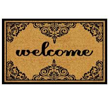 Decorating coir door mats pics : TrafficMASTER Welcome Ornate Border 18 in. x 30 in. Coir Custom ...